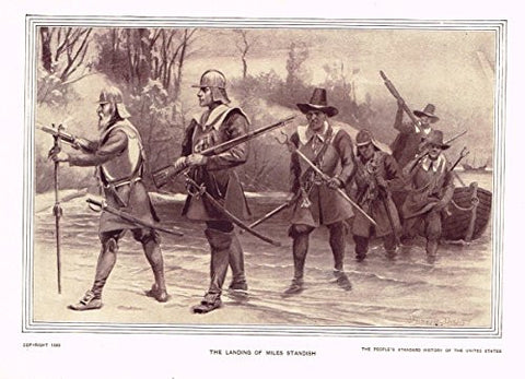 History of Our Country - THE LANDING OF MILES STANDISH - 1841 TO 1869 - Lithograph - 1899