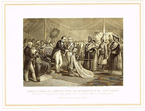 "Archer's Royal Pictures - ""GRAND DURBAR AT CAWNPORE AFTER SEPOY REVOLT"" - Tinted Engraving - 1880"