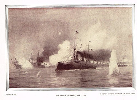History of Our Country - THE BATTLE OF MANILA, 1898 - Photogravure - 1899
