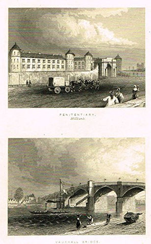 "Tallis's London - ""PENITENTIARY & VAUXHALL BRIDGE"" - Steel Engraving - 1851"