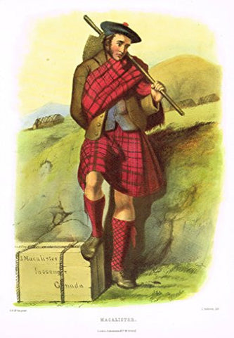 "Clans & Tartans of Scotland by McIan - ""MACALISTER"" - Lithograph -1988"