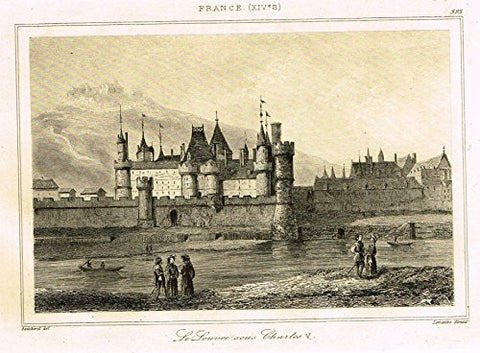 "Bas's France Encyclopedique - ""LE LOUVRE SOUS CHARLES V"" - Steel Engraving - 1841"