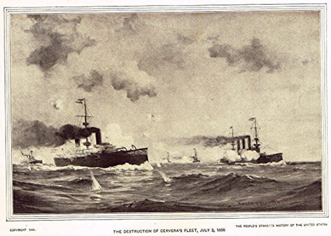 History of Our Country - THE DESTRUCTION OF CERVERA'S FLEET, 1998 - Photogravure - 1899