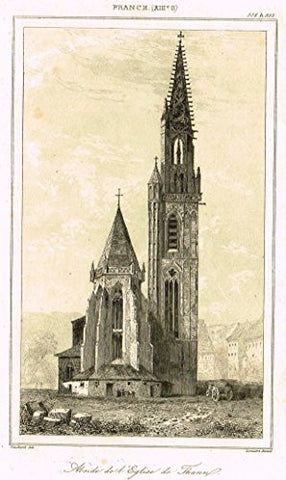 "Bas's France Encyclopedique - ""CATHEDRALE DE STRASBOURG"" - Steel Engraving - 1841"