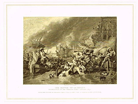 "Archer's Royal Pictures - ""THE BATTLE OF LA HOGUE"" - Tinted Engraving - 1880"