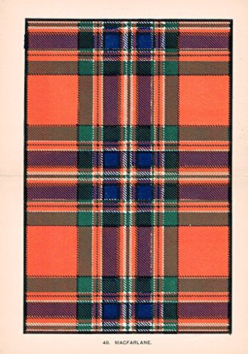 "Johnston's Scottish Tartans - ""MACFARLANE"" - Chromolithograph - c1899"