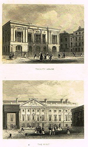 "Tallis's London - ""TRINITY HOUSE & THE MINT"" - Steel Engraving - 1851"