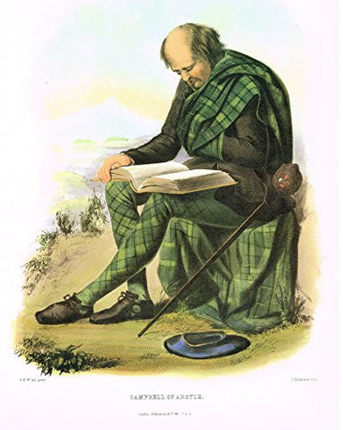 "Clans & Tartans of Scotland by McIan - ""CAMPBELL OF ARGYLE"" - Lithograph -1988"