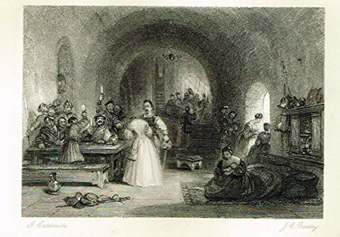 "Cattermole's 'Haddon Hall' - ""ANCIENT HALL"" - Miniature Steel Engraving - 1860"