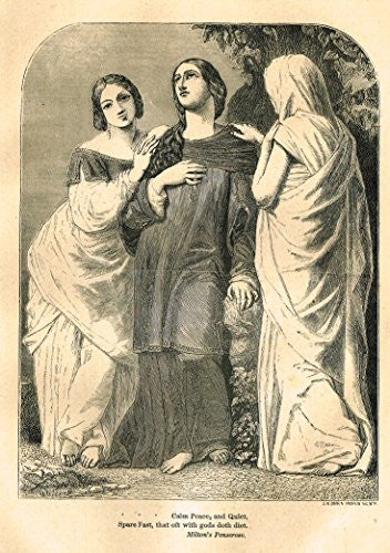 Christian Parlor Book - CALM, PEACE AND QUIET - Wood Engraving - 1850