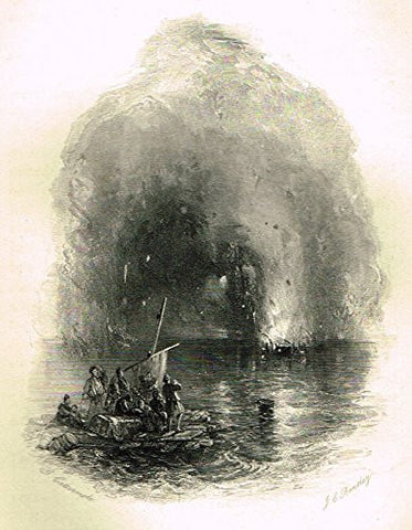 "Cattermole's 'Haddon Hall' - ""SHIP IN FLAMES"" - Miniature Steel Engraving - 1860"