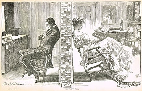 "The Gibson Book - ""THE PARTY WALL"" - Lithograph - 1907"