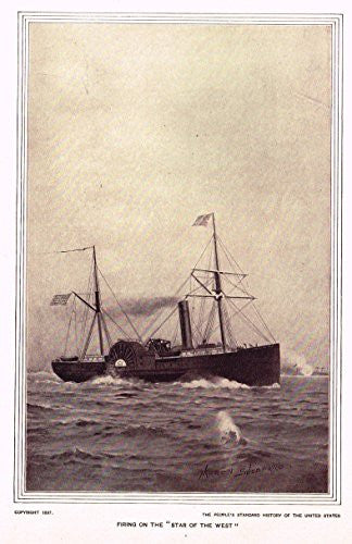 History of Our Country - FIRING ON THE STAR OF THE WEST - Photogravure - 1899
