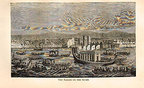 "Abott's Queen Elizabeth - ""THE BARGES ON THE RIVER"" - Wood Engraving - 1869 - Sandtique-Rare-Prints and Maps"