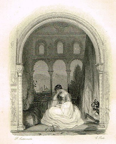"Cattermole's 'Haddon Hall' - ""ZOE AT HER BALCANY"" - Miniature Steel Engraving - 1860"