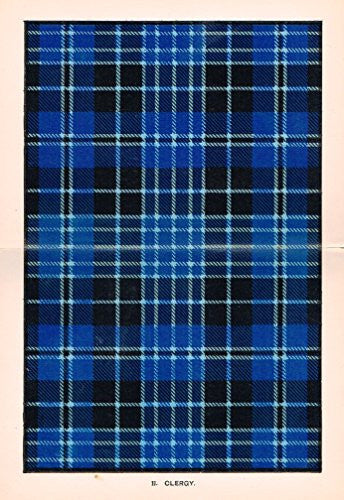 "Johnston's Scottish Tartans - ""CLERGY"" - Chromolithograph - c1899"