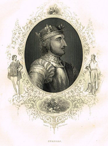Fancy Royal Portraits - KING STEPHEN - Steel Engraving - c1840