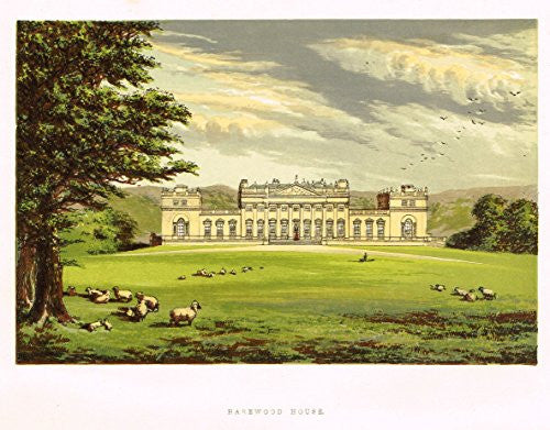 "Country Seats by F.O. Morris - ""HAREWOOD HOUSE"" - Chromolithograph - 1866"