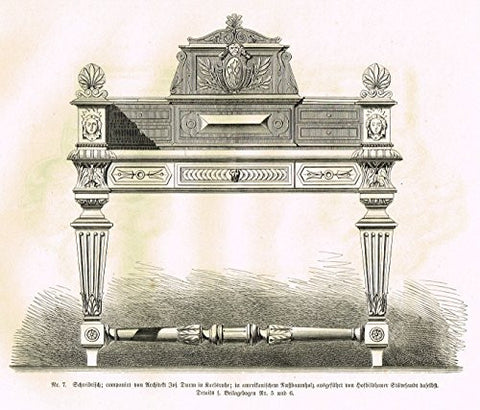 "Baumer's 'Gewerbehalle'- ""DECORATIVE SECRETARY DESK"" - c1870"