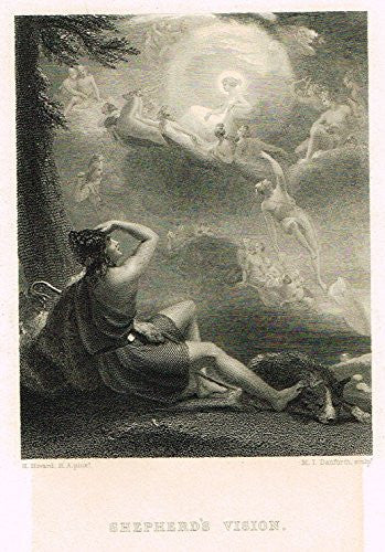 Miniature Print - SHEPHERD'S VISION by Danford - Steel Engraving - 1824