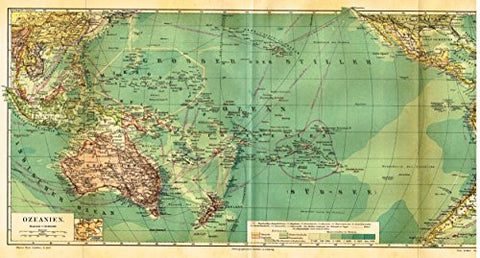 "Meyers' Lexicon Map - ""OCEANA"" - Chromolithograph - 1913"