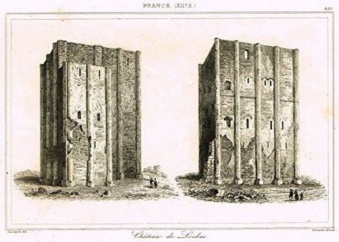 "Bas's France Encyclopedique - ""CHATEAU DE LOCHES"" - Steel Engraving - 1841"
