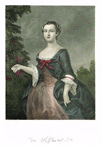 "Ladies of the White House - ""MARTHA WASHINGTON"" - Hand-Colored Engraving - 1882"