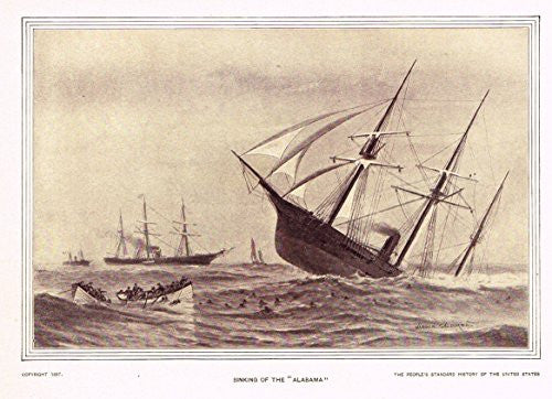 History of Our Country - SINKING OF THE ALABAMA - Photogravure - 1899