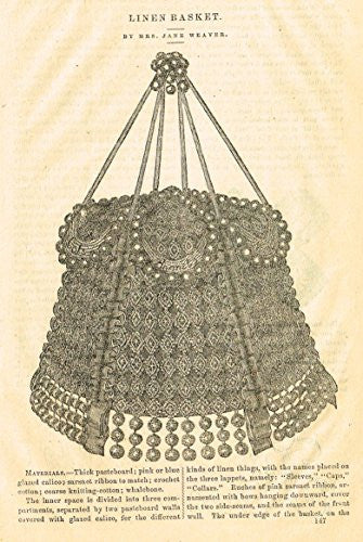 Harper's Magazine's - LINEN AND WASTE-PAPER BASKETS - Lithograph - c1860