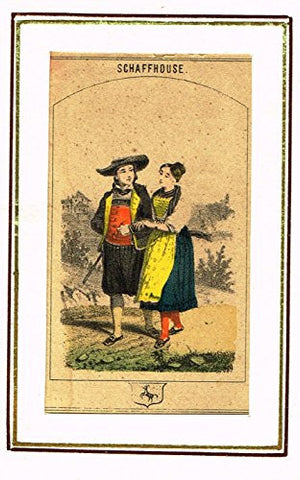 "Swiss National Costume Miniature - ""CANTON of SCHAFFHOUSE"" - Hand-Colored Engraving - 1865"
