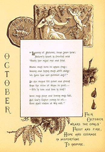 "Mary A. Lathbury's Monthly Poems - ""OCTOBER POEM"" - Tinted Chromolithograph - 1885"