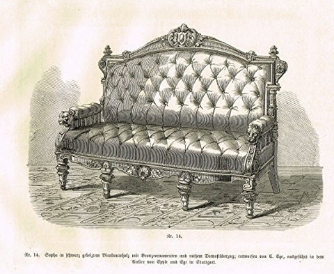 Baumer's 'Gewerbehalle'- CARVED & TURNED TUFTED SOFA - c1870