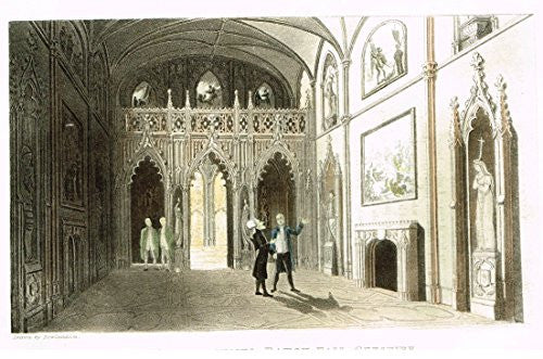 "Rowlandson's Dr. Syntax - ""DR. SYNTAX VISITS EATON HALL, CHESHIRE"" - Aquatint - 1820"