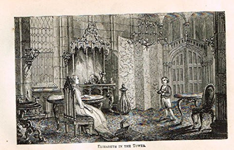 "Abott's Queen Elizabeth - ""ELIZABETH IN THE TOWER"" - Wood Engraving - 1869 - Sandtique-Rare-Prints and Maps"