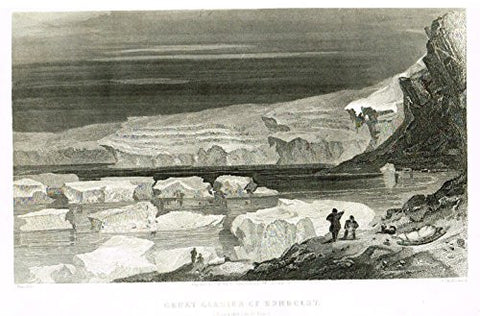 "Kane's Arctic Explorations - ""GREAT GLACIER OF HUMBOLDT"" - Steel Engraving - 1856"