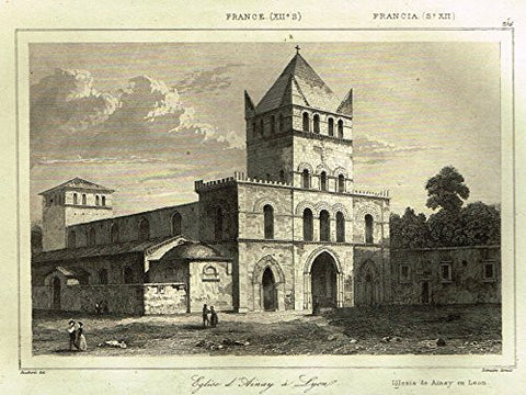 "Bas's France Encyclopedique - ""EGLISE D'AINAY A LYON"" - Steel Engraving - 1841"