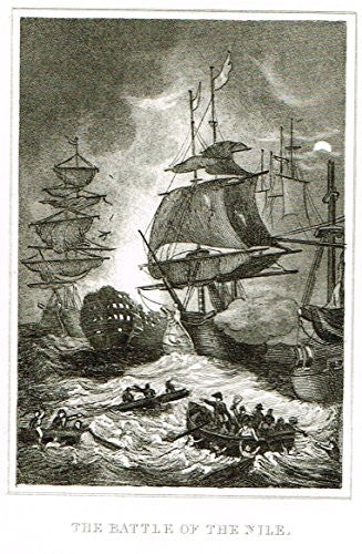 Miniature History of England - THE BATTLE OF THE NILE - Copper Engraving - 1812
