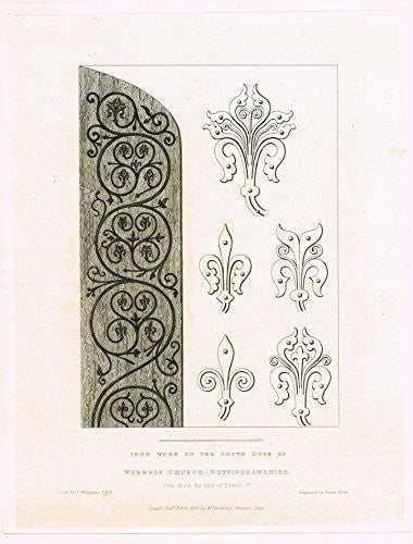 "Shaw's Ancient Furniture - ""IRON WORK ON THE SOUTH DOOR OF WORKSOP CHURCH"" - Engraving - 1836"