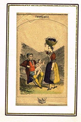 "Swiss National Costume Miniature - ""CANTON of THURGOVIE"" - Hand-Colored Engraving - 1865"
