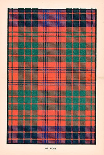"Johnston's Scottish Tartans - ""ROSS"" - Chromolithograph - c1899"