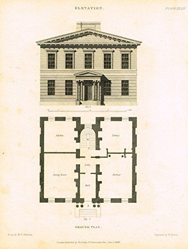 "Nicholson's Practical Builder - ""ELEVATION & GROUND PLAN -2 STORY HOUSE"" - Steel Engraving - 1836"