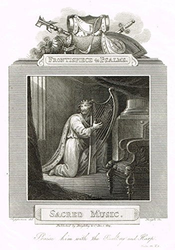 "Blomfield's Impartial Expsitor & Bible - ""FRONTISPIECE  - SACRED MUSIC"" - Engraving - 1815"