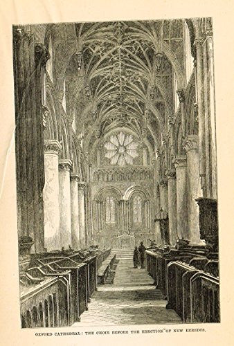 Our National Cathedrals - OXFORD CATHEDRAL - CHOIR - Wood Engraving - 1887