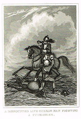 Miniature History - GUARDSMAN FIGHTING A CUIRASSIER - Copper Engraving - 1812