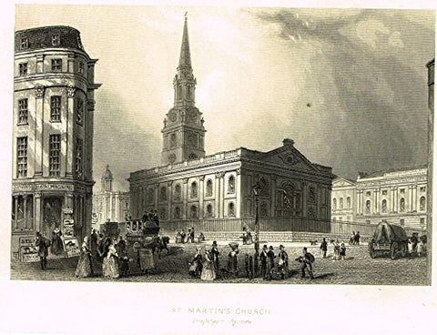 "Tallis's Illustrated London - ""ST. MARTIN'S CHURCH"" - Steel Engraving - 1851"