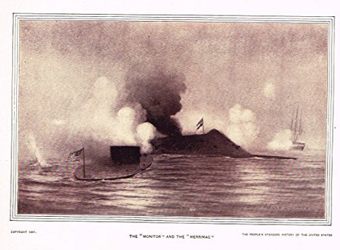 History of Our Country - THE MONITOR & THE MERRIMAC - Photogravure - 1899