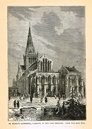 Our National Cathedrals - ST. MUNGO'S CATHEDRAL - GLASGOW - Wood Engraving - 1887