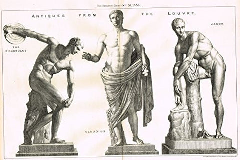"Building News' - ""ANTIQUES FROM THE LOUVRE - DISCOBULUS, CLAUDIUS & JASON"" - Large Lithograph - 1885"