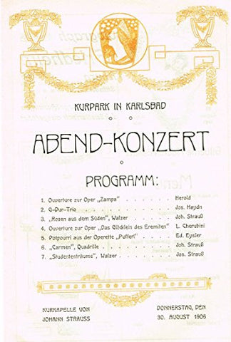 "Art Nouveau Typography - ""ABEND CONCERT PROGRAM"" - Lithograph - 1905"