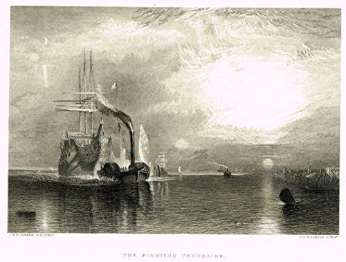 "Turner's Landscapes - ""THE FIGHTING TEMERAIRE"" - Steel Engraving - 1879"